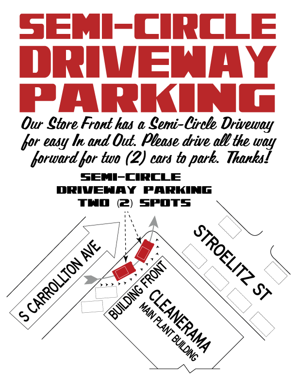 Semi-Circle Driveway Parking. Store Front has Semi-Circle Driveway Parking for easy In and Out. Please pull all the way forward to allow for two (2) cars to park.